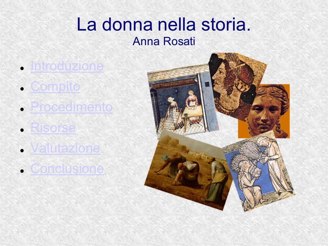 La donna nella storia. Anna Rosati Introduzione Compito Procedimento Risorse Valutazione Conclusione