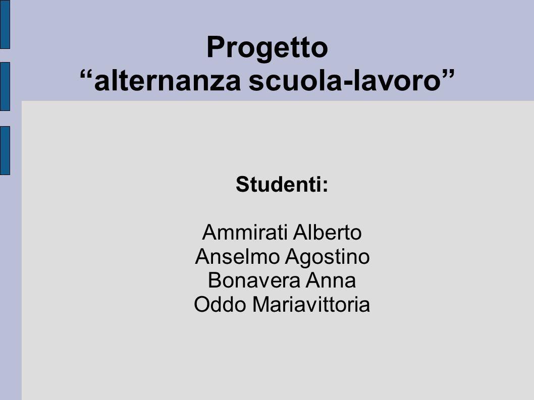 Progetto alternanza scuola-lavoro Studenti: Ammirati Alberto Anselmo Agostino Bonavera Anna Oddo Mariavittoria