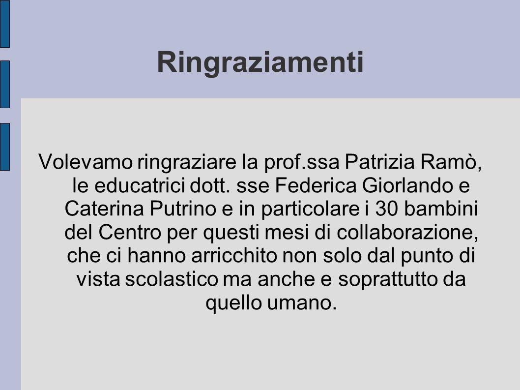 Ringraziamenti Volevamo ringraziare la prof.ssa Patrizia Ramò, le educatrici dott. sse Federica Giorlando e Caterina Putrino e in particolare i 30 bam