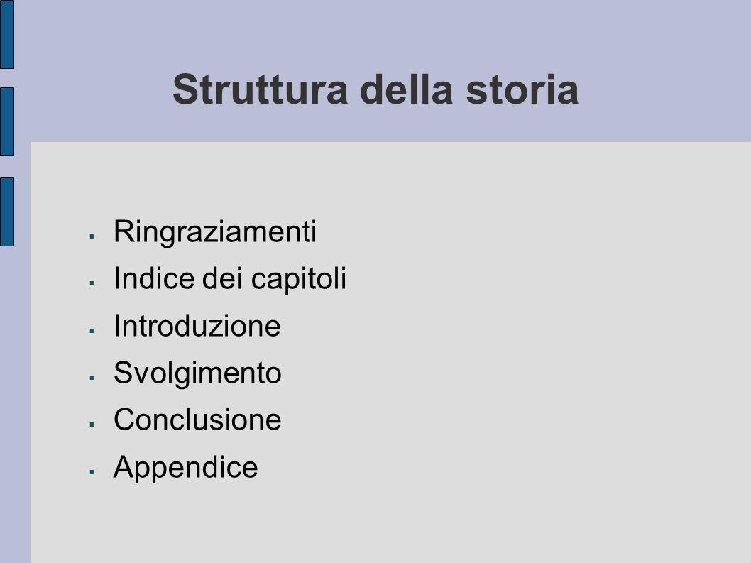 Struttura della storia Ringraziamenti Indice dei capitoli Introduzione Svolgimento Conclusione Appendice