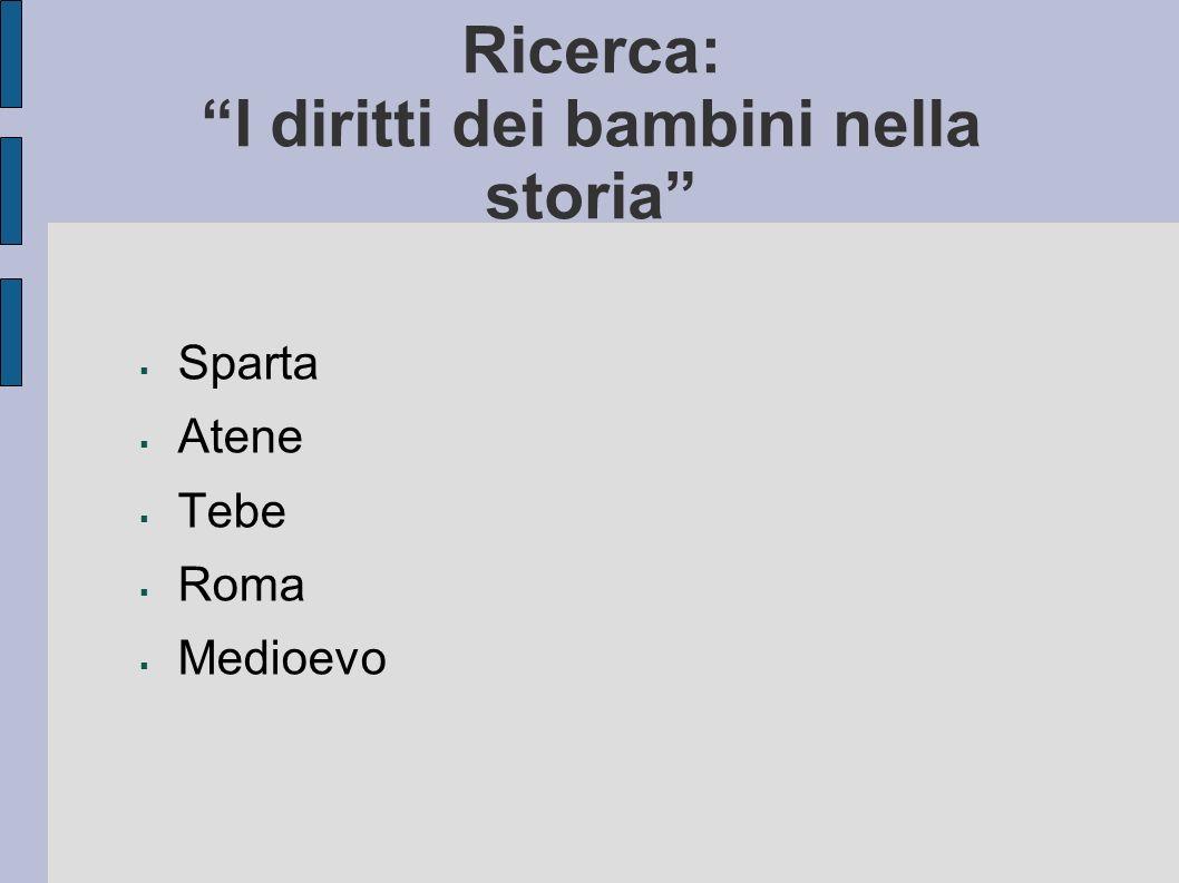 Ricerca: I diritti dei bambini nella storia Sparta Atene Tebe Roma Medioevo