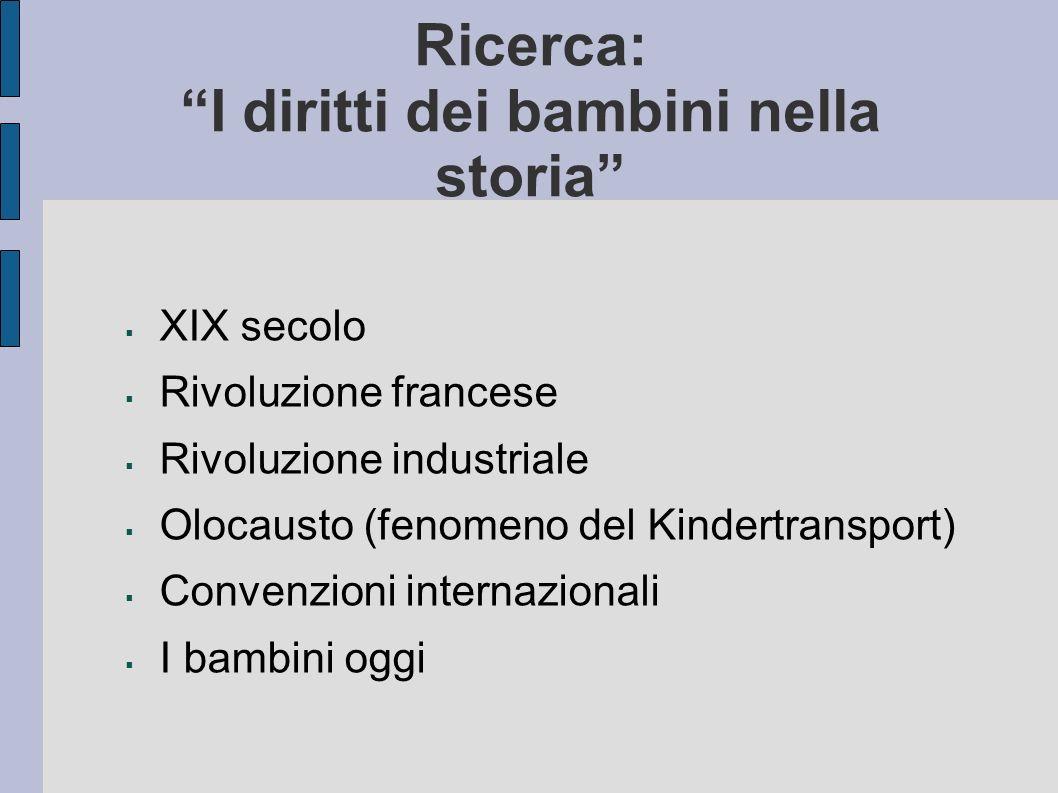 Ricerca: I diritti dei bambini nella storia XIX secolo Rivoluzione francese Rivoluzione industriale Olocausto (fenomeno del Kindertransport) Convenzio