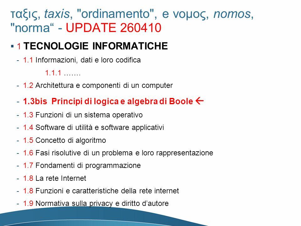 ταξις, taxis, ordinamento , e νομος, nomos, norma - UPDATE 260410 1 TECNOLOGIE INFORMATICHE -1.1 Informazioni, dati e loro codifica 1.1.1 …….