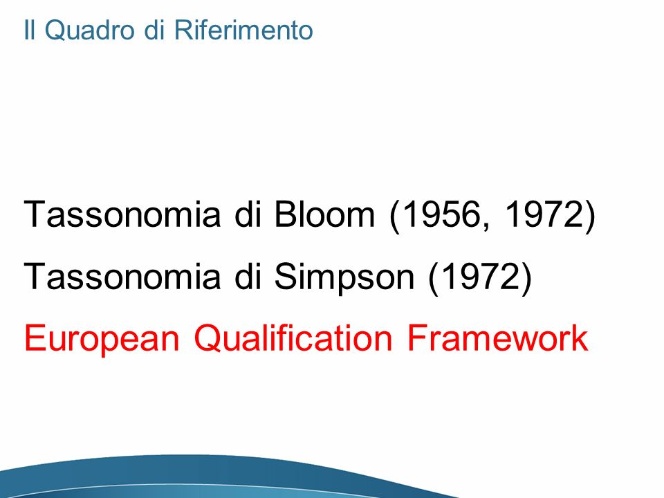 Il Quadro di Riferimento Tassonomia di Bloom (1956, 1972) Tassonomia di Simpson (1972) European Qualification Framework