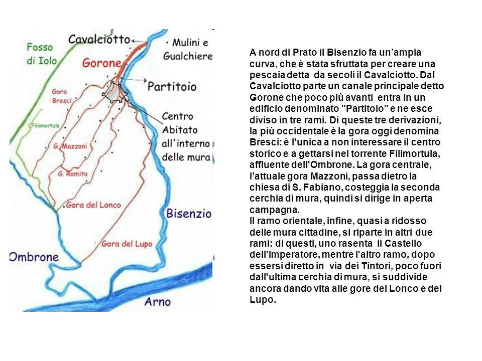 A nord di Prato il Bisenzio fa unampia curva, che è stata sfruttata per creare una pescaia detta da secoli il Cavalciotto. Dal Cavalciotto parte un ca