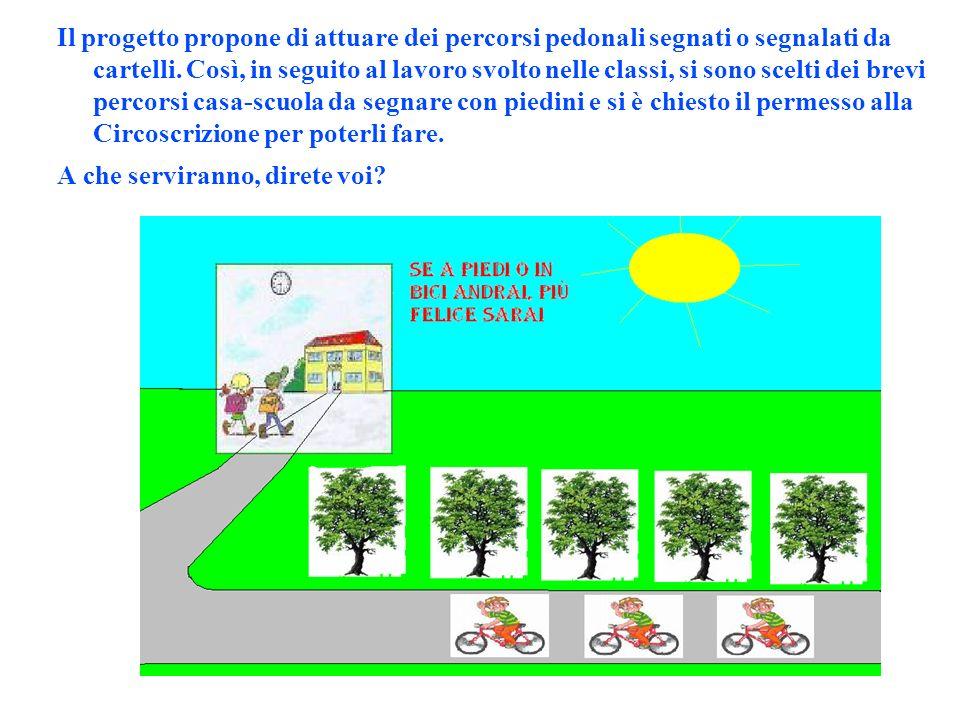 Il progetto propone di attuare dei percorsi pedonali segnati o segnalati da cartelli.