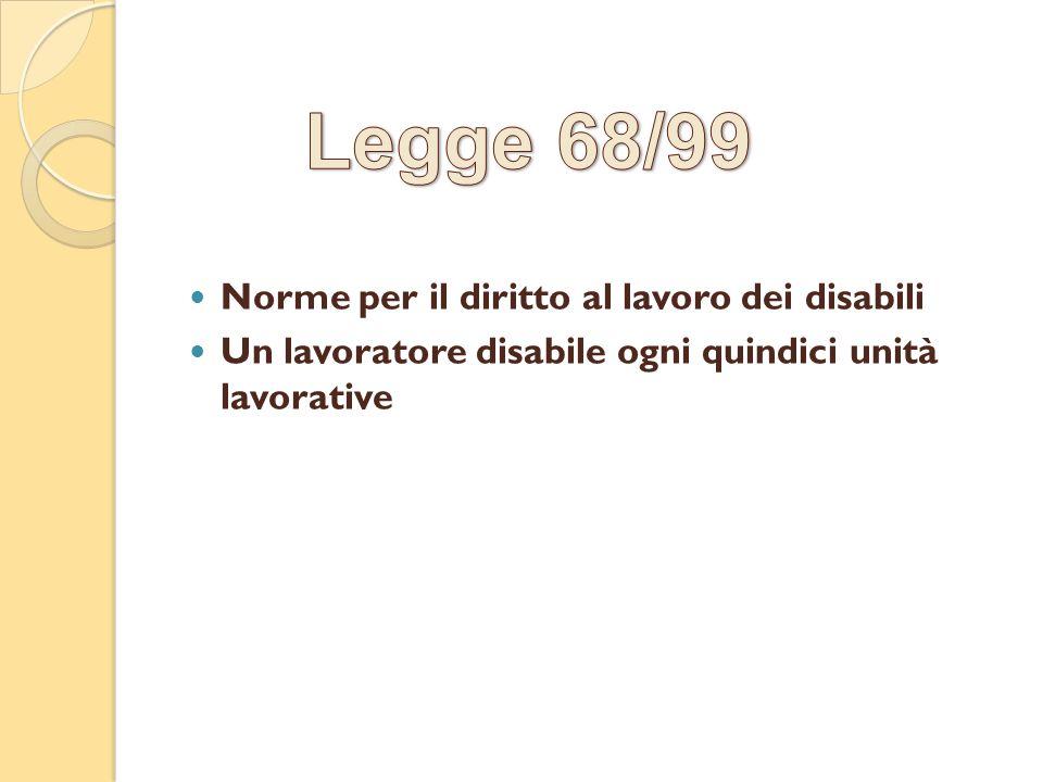 Norme per il diritto al lavoro dei disabili Un lavoratore disabile ogni quindici unità lavorative