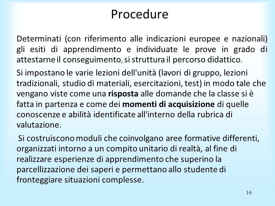 16 Procedure Determinati (con riferimento alle indicazioni europee e nazionali) gli esiti di apprendimento e individuate le prove in grado di attestarne il conseguimento, si struttura il percorso didattico.