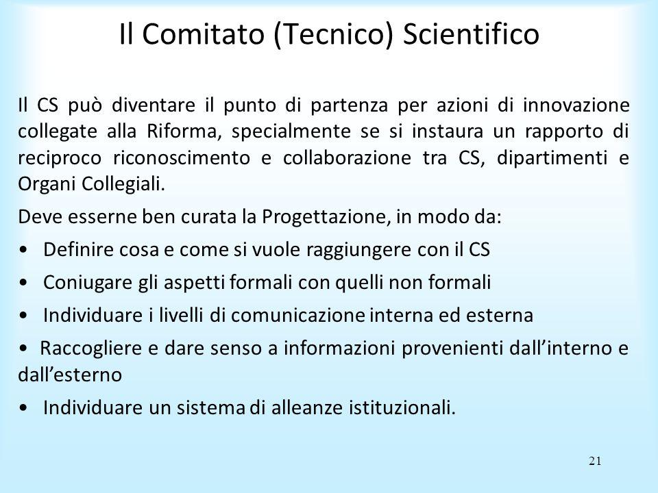 21 Il Comitato (Tecnico) Scientifico Il CS può diventare il punto di partenza per azioni di innovazione collegate alla Riforma, specialmente se si instaura un rapporto di reciproco riconoscimento e collaborazione tra CS, dipartimenti e Organi Collegiali.