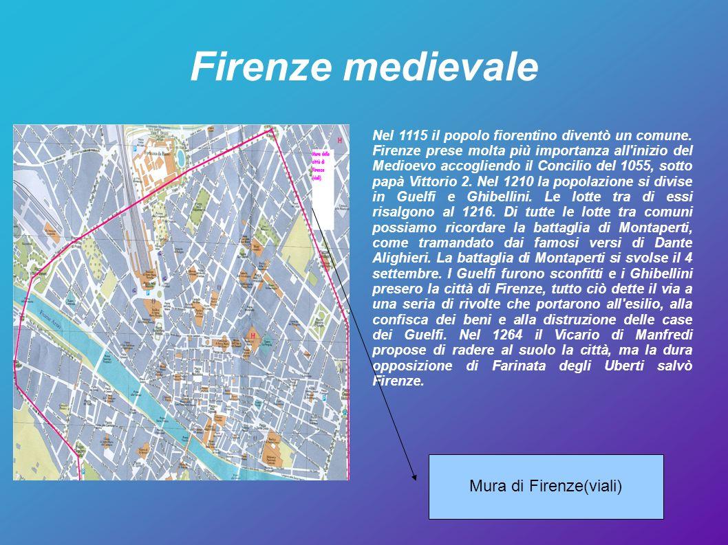 Firenze medievale Nel 1115 il popolo fiorentino diventò un comune. Firenze prese molta più importanza all'inizio del Medioevo accogliendo il Concilio