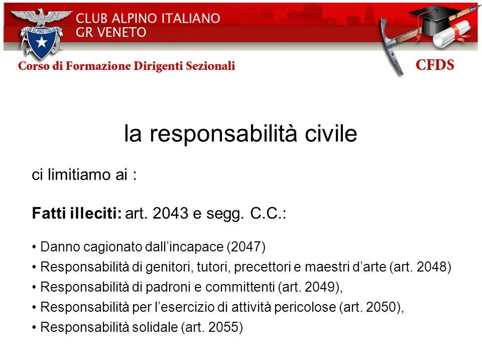 la responsabilità civile ci limitiamo ai : Fatti illeciti: art. 2043 e segg. C.C.: Danno cagionato dallincapace (2047) Responsabilità di genitori, tut