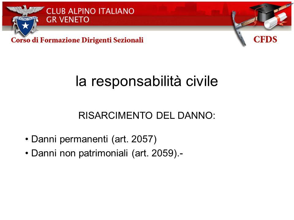 la responsabilità civile RISARCIMENTO DEL DANNO: Danni permanenti (art. 2057) Danni non patrimoniali (art. 2059).-