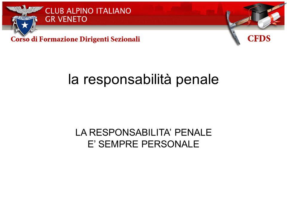 la responsabilità penale LA RESPONSABILITA PENALE E SEMPRE PERSONALE