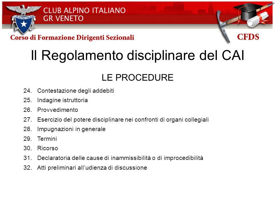 Il Regolamento disciplinare del CAI LE PROCEDURE 24.