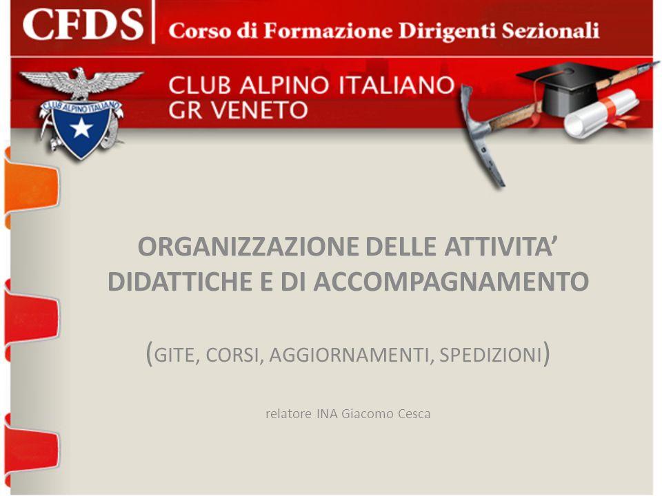 ORGANIZZAZIONE DELLE ATTIVITA DIDATTICHE E DI ACCOMPAGNAMENTO ( GITE, CORSI, AGGIORNAMENTI, SPEDIZIONI ) relatore INA Giacomo Cesca