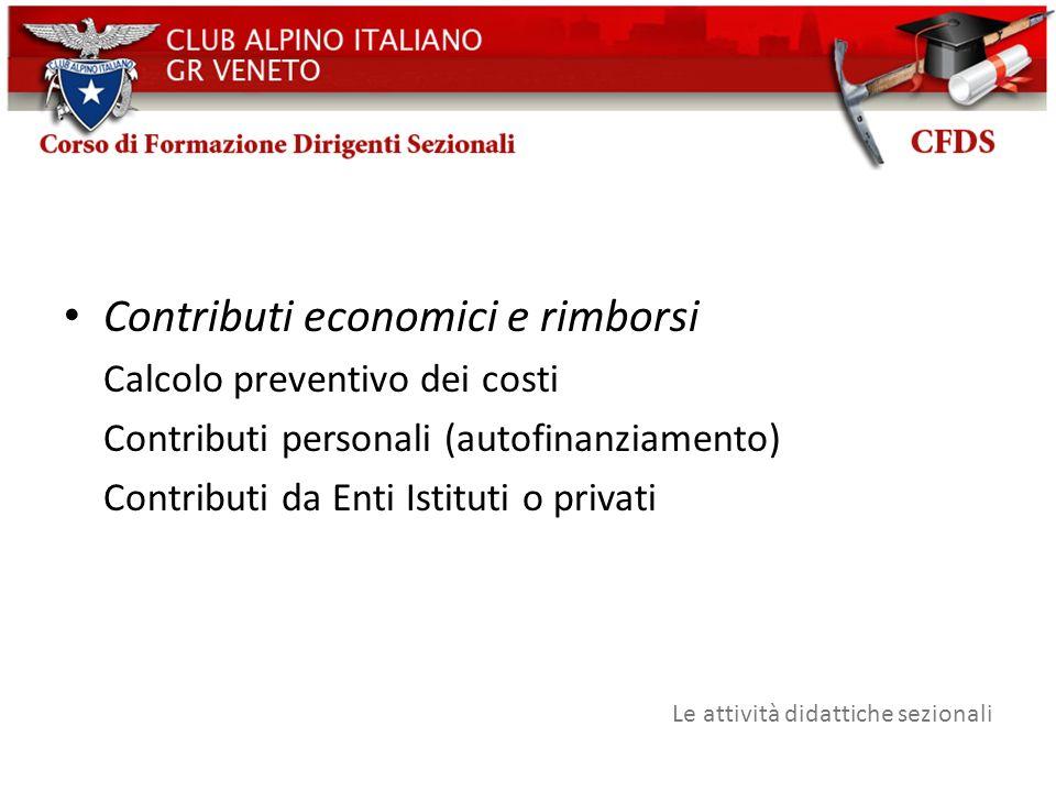 Contributi economici e rimborsi Calcolo preventivo dei costi Contributi personali (autofinanziamento) Contributi da Enti Istituti o privati Le attivit
