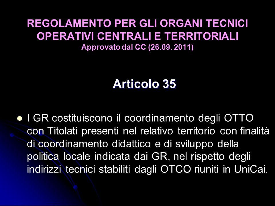 Articolo 35 I GR costituiscono il coordinamento degli OTTO con Titolati presenti nel relativo territorio con finalità di coordinamento didattico e di