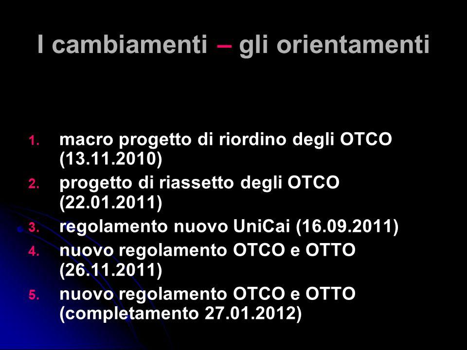 I cambiamenti – gli orientamenti 1. 1. macro progetto di riordino degli OTCO (13.11.2010) 2. 2. progetto di riassetto degli OTCO (22.01.2011) 3. 3. re