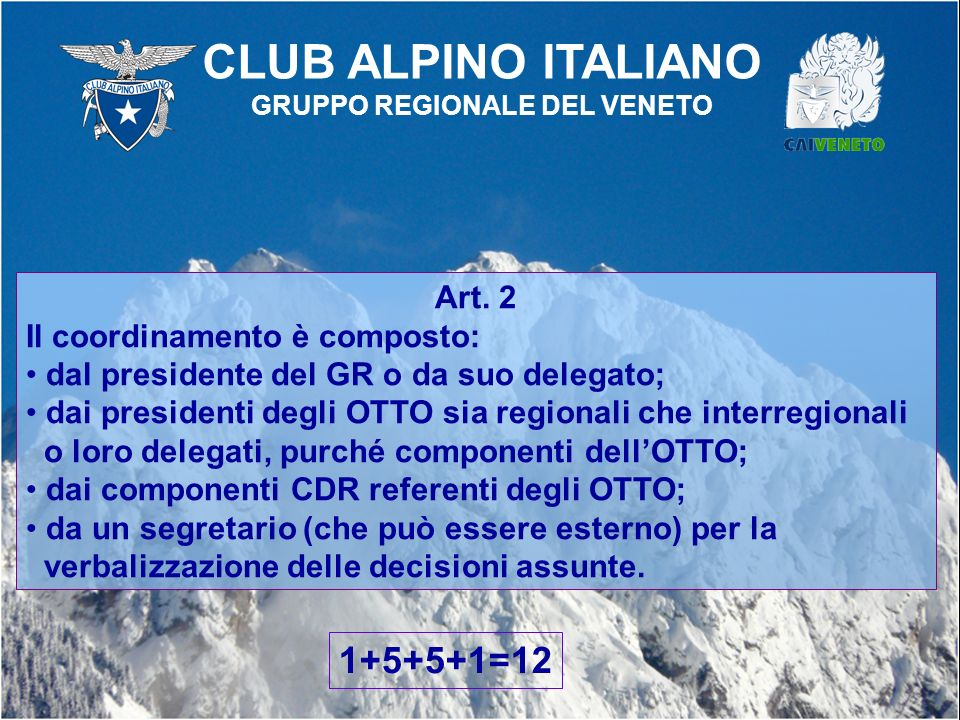 Art. 2 Il coordinamento è composto: dal presidente del GR o da suo delegato; dai presidenti degli OTTO sia regionali che interregionali o loro delegat