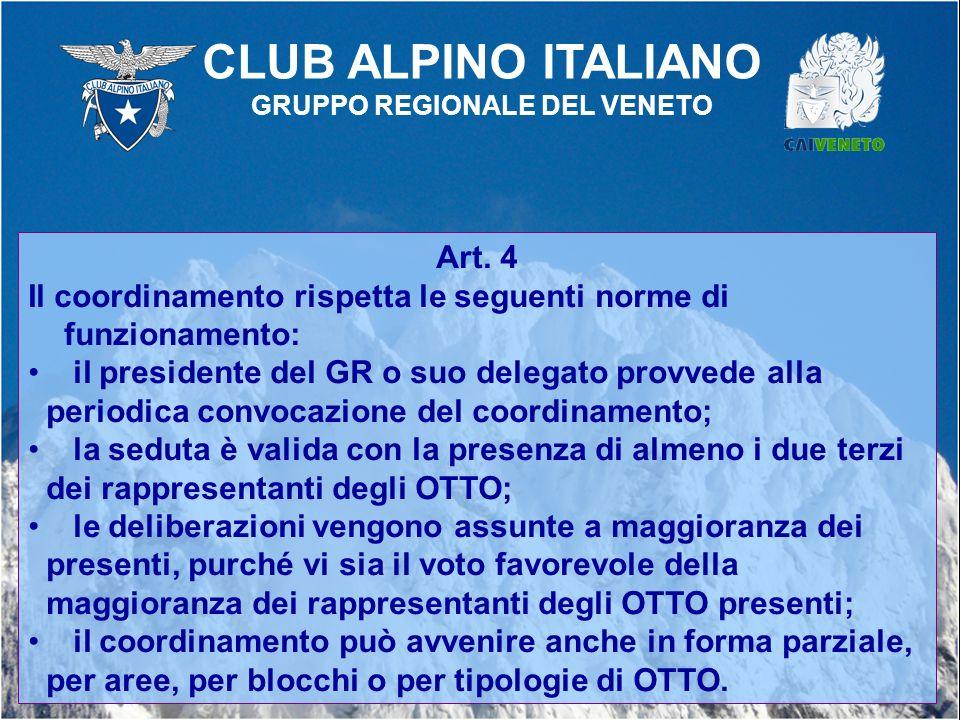 Art. 4 Il coordinamento rispetta le seguenti norme di funzionamento: il presidente del GR o suo delegato provvede alla periodica convocazione del coor