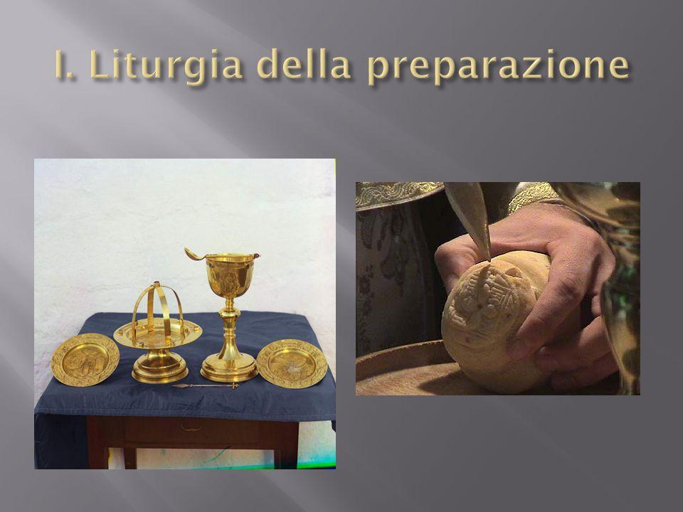 Sacerdote e il diacono preparano il pane e il vino per leucaristia Significa la vita privata di Gesù Anche la Sua nascita e morte