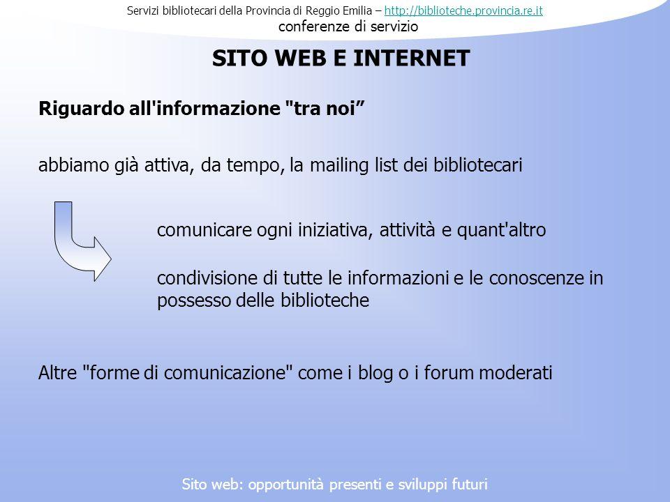 Servizi bibliotecari della Provincia di Reggio Emilia – http://biblioteche.provincia.re.it conferenze di serviziohttp://biblioteche.provincia.re.it Ri