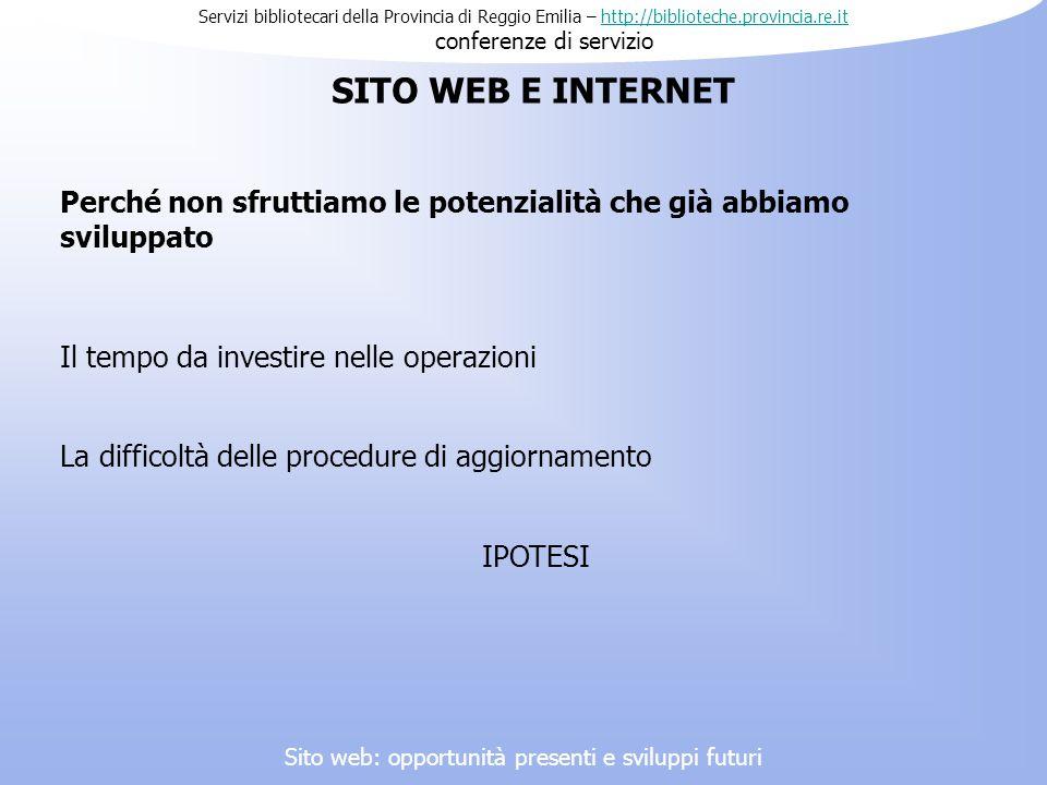 Servizi bibliotecari della Provincia di Reggio Emilia – http://biblioteche.provincia.re.it conferenze di serviziohttp://biblioteche.provincia.re.it Pe