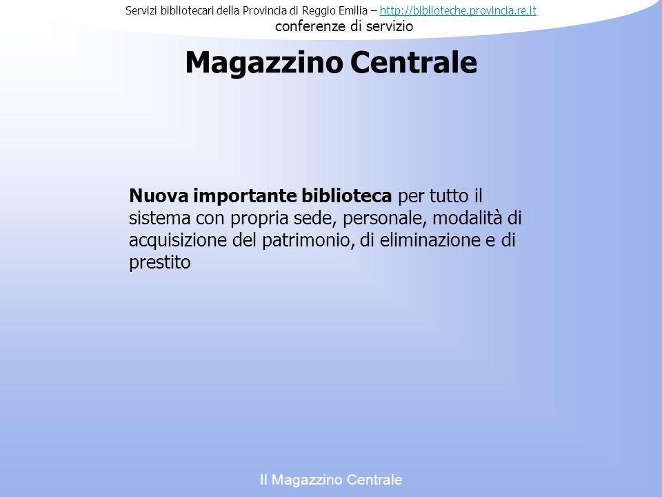 Servizi bibliotecari della Provincia di Reggio Emilia – http://biblioteche.provincia.re.it conferenze di serviziohttp://biblioteche.provincia.re.it I tempi previsti Il Magazzino Centrale