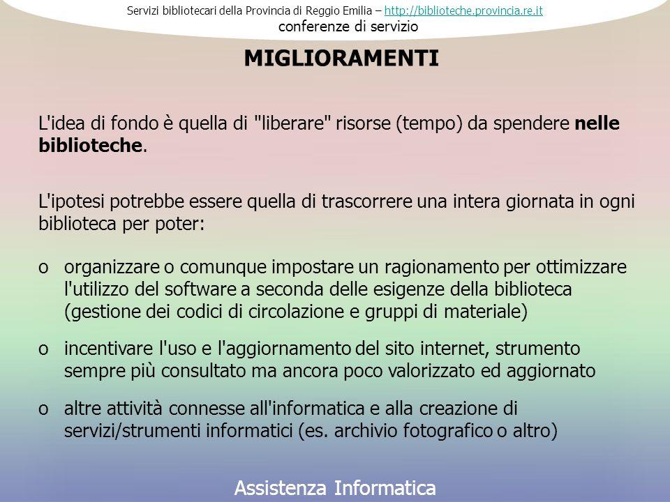 Servizi bibliotecari della Provincia di Reggio Emilia – http://biblioteche.provincia.re.it conferenze di serviziohttp://biblioteche.provincia.re.it Assistenza Informatica L idea di fondo è quella di liberare risorse (tempo) da spendere nelle biblioteche.