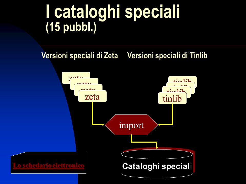 I cataloghi speciali (15 pubbl.) zeta tinlib import Cataloghi speciali Versioni speciali di Zeta Versioni speciali di Tinlib Lo schedario elettronico
