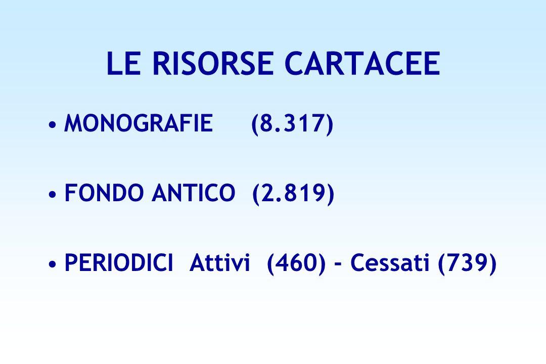 LE RISORSE CARTACEE MONOGRAFIE (8.317) FONDO ANTICO (2.819) PERIODICI Attivi (460) - Cessati (739)