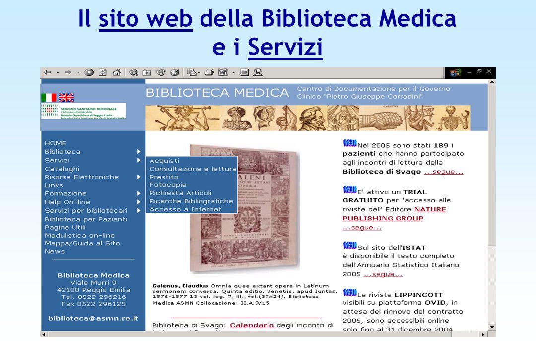 Il sito web della Biblioteca Medica e i Servizi