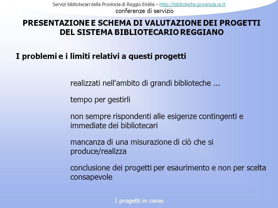 Servizi bibliotecari della Provincia di Reggio Emilia – http://biblioteche.provincia.re.it conferenze di serviziohttp://biblioteche.provincia.re.it I problemi e i limiti relativi a questi progetti PRESENTAZIONE E SCHEMA DI VALUTAZIONE DEI PROGETTI DEL SISTEMA BIBLIOTECARIO REGGIANO realizzati nell ambito di grandi biblioteche...