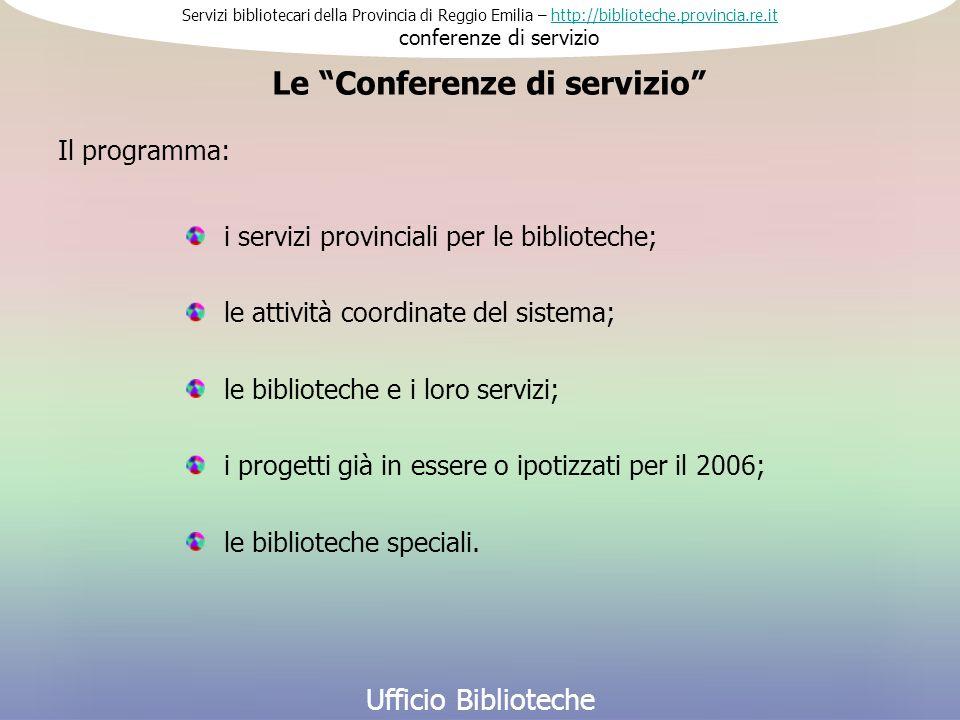 Servizi bibliotecari della Provincia di Reggio Emilia – http://biblioteche.provincia.re.it conferenze di serviziohttp://biblioteche.provincia.re.it Ufficio Biblioteche i servizi provinciali per le biblioteche; Le Conferenze di servizio le attività coordinate del sistema; le biblioteche e i loro servizi; i progetti già in essere o ipotizzati per il 2006; Il programma: le biblioteche speciali.