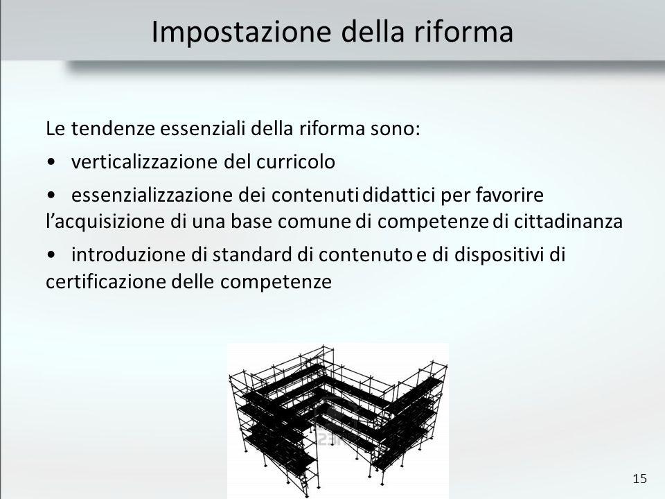 15 Impostazione della riforma Le tendenze essenziali della riforma sono: verticalizzazione del curricolo essenzializzazione dei contenuti didattici pe
