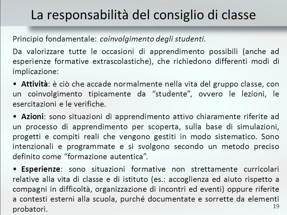 19 La responsabilità del consiglio di classe Principio fondamentale: coinvolgimento degli studenti. Da valorizzare tutte le occasioni di apprendimento