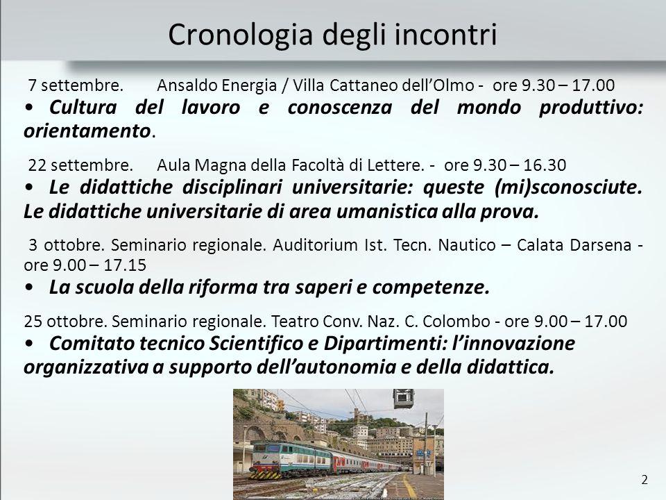 2 Cronologia degli incontri 7 settembre.Ansaldo Energia / Villa Cattaneo dellOlmo - ore 9.30 – 17.00 Cultura del lavoro e conoscenza del mondo produtt