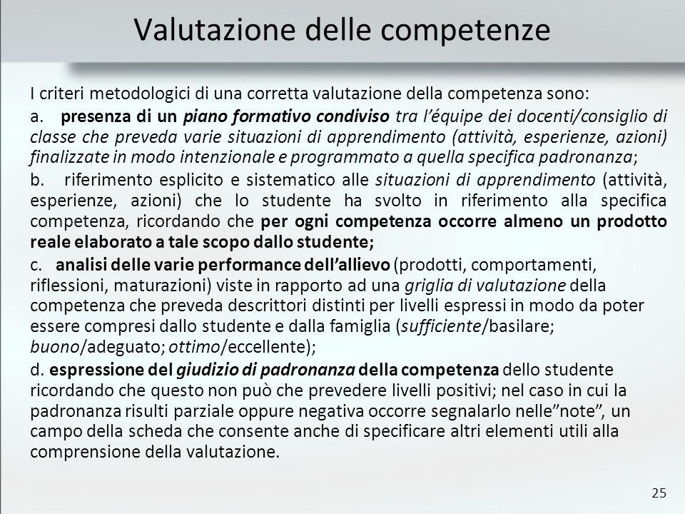 25 Valutazione delle competenze I criteri metodologici di una corretta valutazione della competenza sono: a. presenza di un piano formativo condiviso