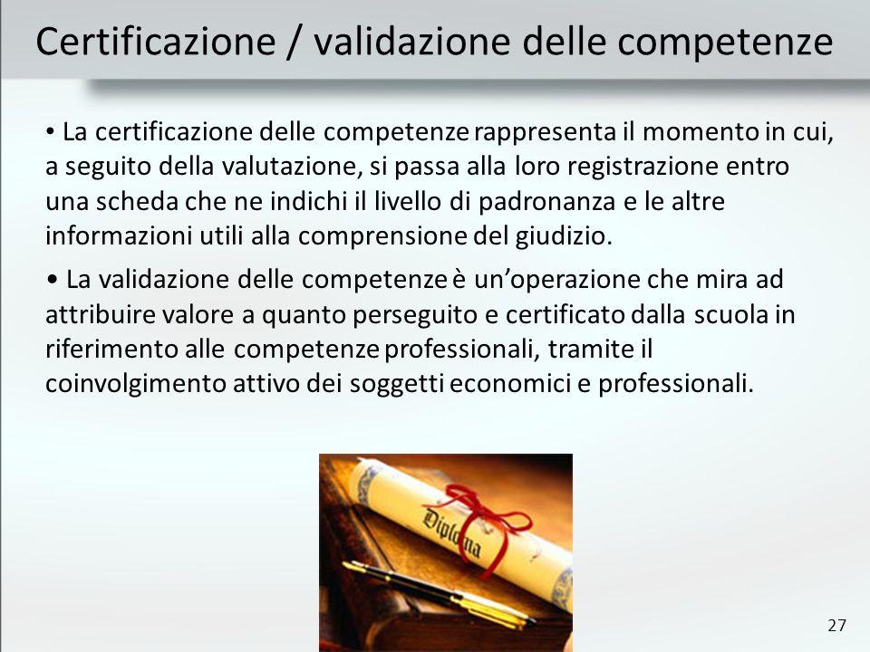 27 Certificazione / validazione delle competenze La certificazione delle competenze rappresenta il momento in cui, a seguito della valutazione, si passa alla loro registrazione entro una scheda che ne indichi il livello di padronanza e le altre informazioni utili alla comprensione del giudizio.