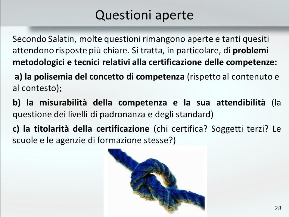 28 Questioni aperte Secondo Salatin, molte questioni rimangono aperte e tanti quesiti attendono risposte più chiare. Si tratta, in particolare, di pro