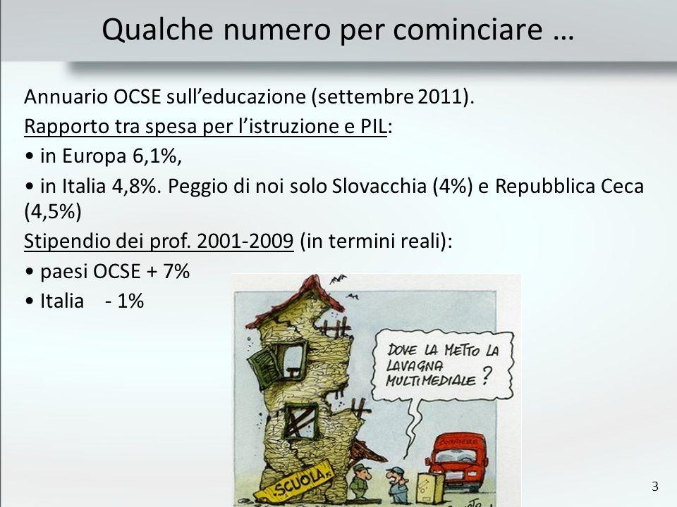 3 Qualche numero per cominciare … Annuario OCSE sulleducazione (settembre 2011).