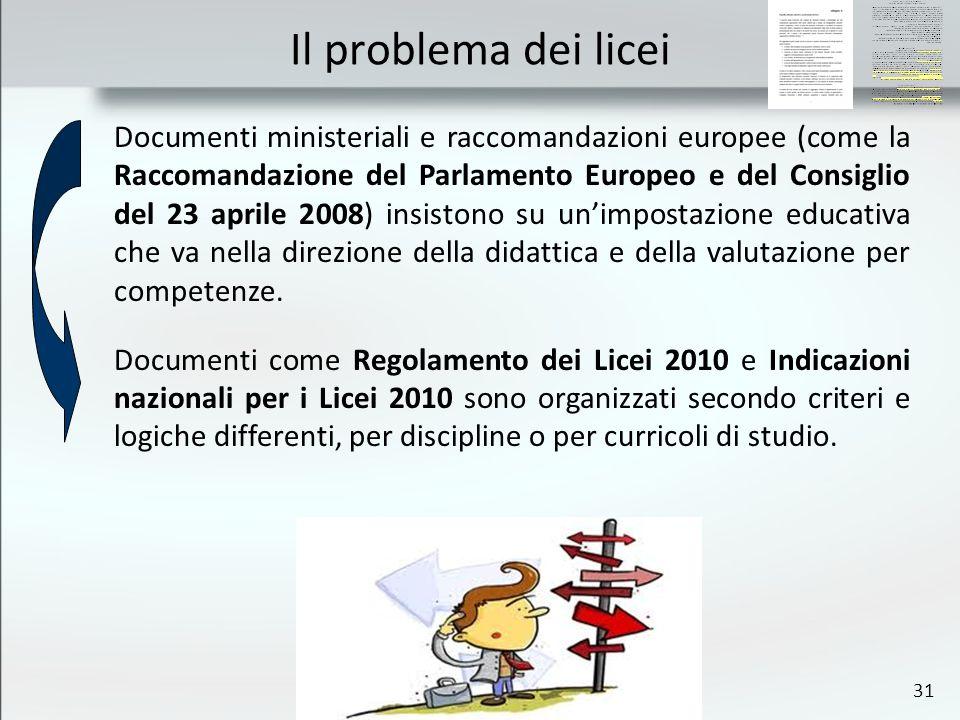 31 Il problema dei licei Documenti ministeriali e raccomandazioni europee (come la Raccomandazione del Parlamento Europeo e del Consiglio del 23 aprile 2008) insistono su unimpostazione educativa che va nella direzione della didattica e della valutazione per competenze.