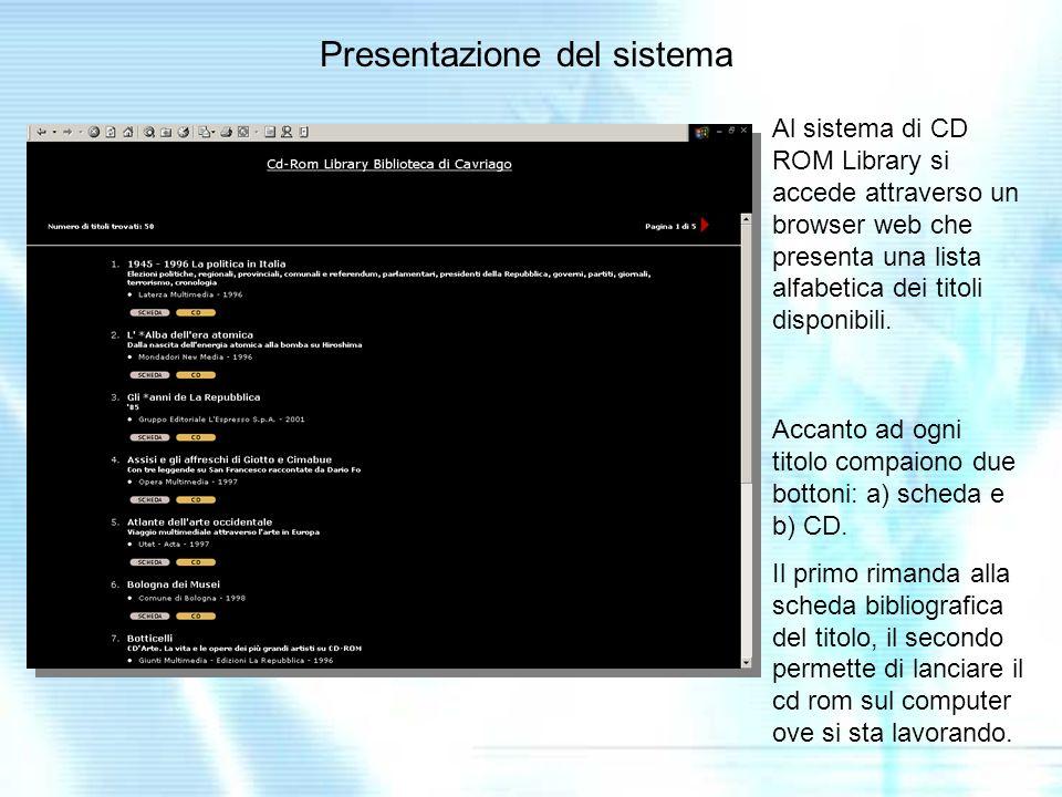 Presentazione del sistema Al sistema di CD ROM Library si accede attraverso un browser web che presenta una lista alfabetica dei titoli disponibili.