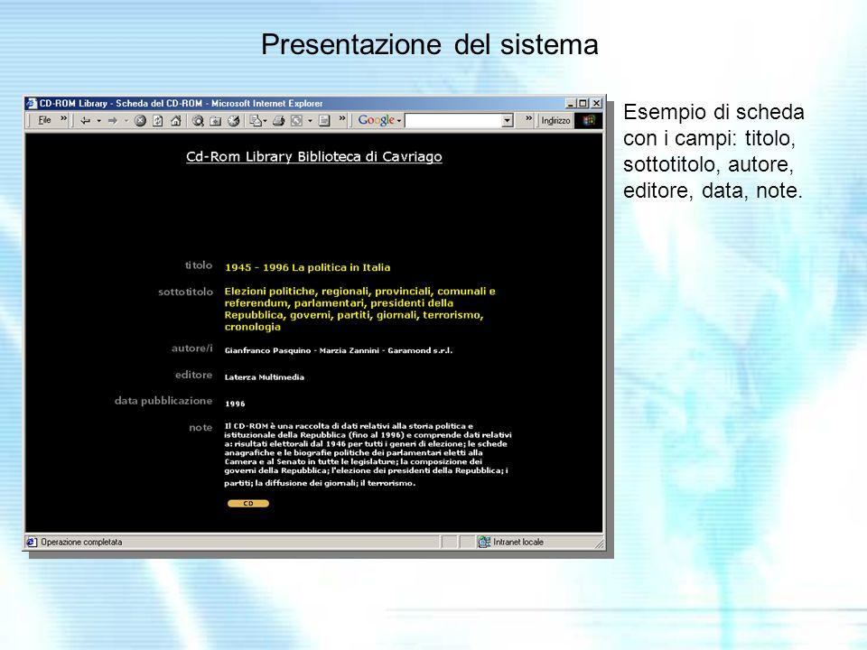 Presentazione del sistema Esempio di scheda con i campi: titolo, sottotitolo, autore, editore, data, note.