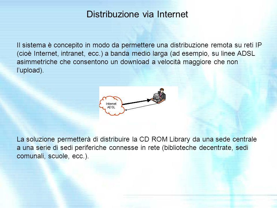 Il sistema è concepito in modo da permettere una distribuzione remota su reti IP (cioè Internet, intranet, ecc.) a banda medio larga (ad esempio, su linee ADSL asimmetriche che consentono un download a velocità maggiore che non lupload).