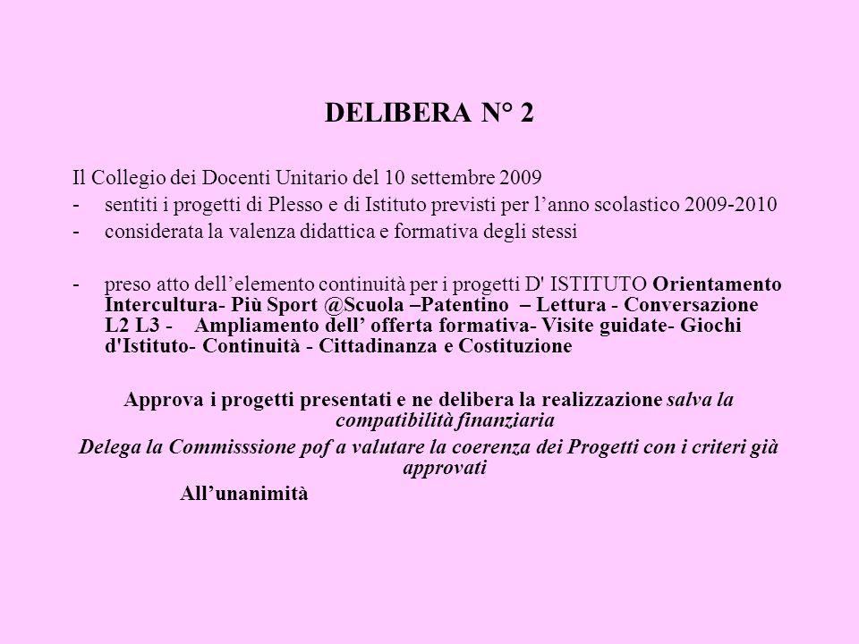 DELIBERA N° 2 Il Collegio dei Docenti Unitario del 10 settembre 2009 -sentiti i progetti di Plesso e di Istituto previsti per lanno scolastico 2009-20