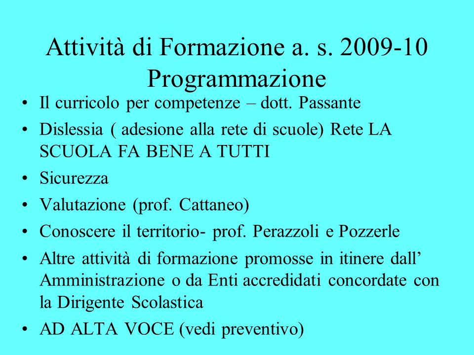 Attività di Formazione a. s. 2009-10 Programmazione Il curricolo per competenze – dott. Passante Dislessia ( adesione alla rete di scuole) Rete LA SCU