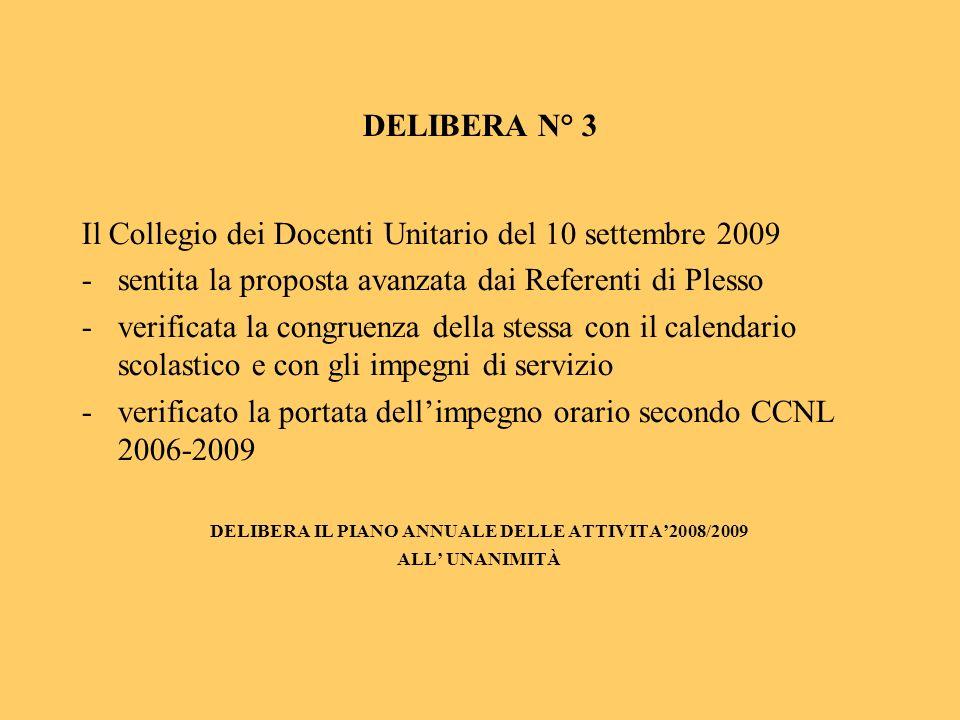 DELIBERA N° 3 Il Collegio dei Docenti Unitario del 10 settembre 2009 -sentita la proposta avanzata dai Referenti di Plesso -verificata la congruenza della stessa con il calendario scolastico e con gli impegni di servizio -verificato la portata dellimpegno orario secondo CCNL 2006-2009 DELIBERA IL PIANO ANNUALE DELLE ATTIVITA2008/2009 ALL UNANIMITÀ