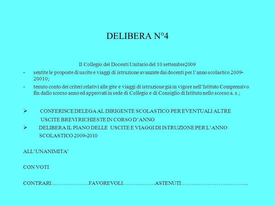 DELIBERA N°4 Il Collegio dei Docenti Unitario del 10 settembre2009 -sentite le proposte di uscite e viaggi di istruzione avanzate dai docenti per lann