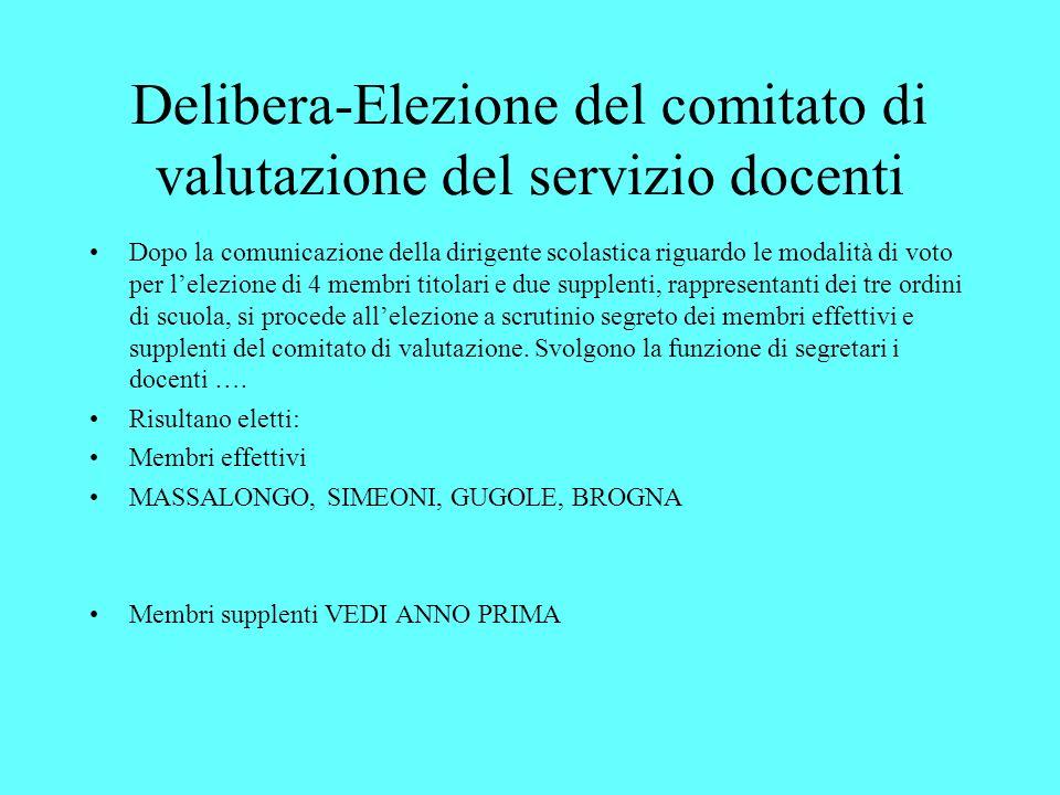 Delibera-Elezione del comitato di valutazione del servizio docenti Dopo la comunicazione della dirigente scolastica riguardo le modalità di voto per l